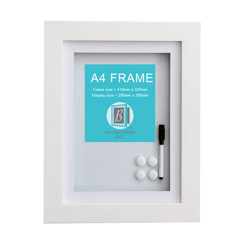 A4 White Front Opening Picture Frame + Magnetic Whiteboard
