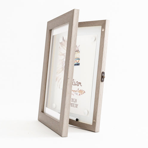 a4 grey front opening picture frame