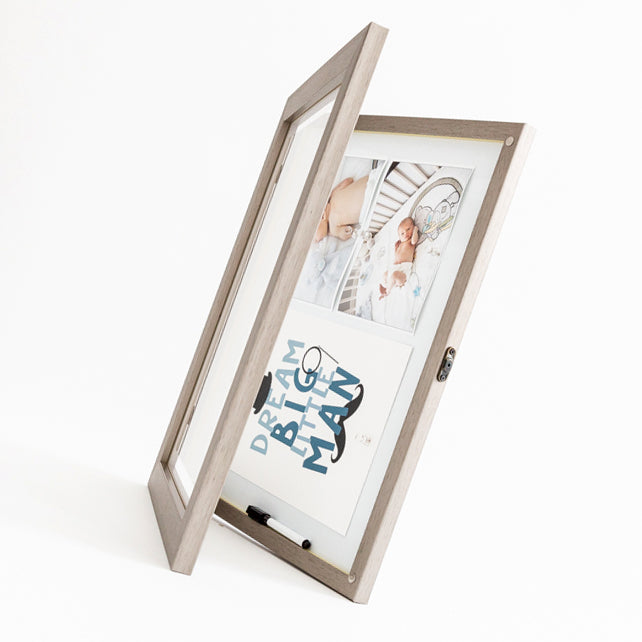 Grey front opening picture frame