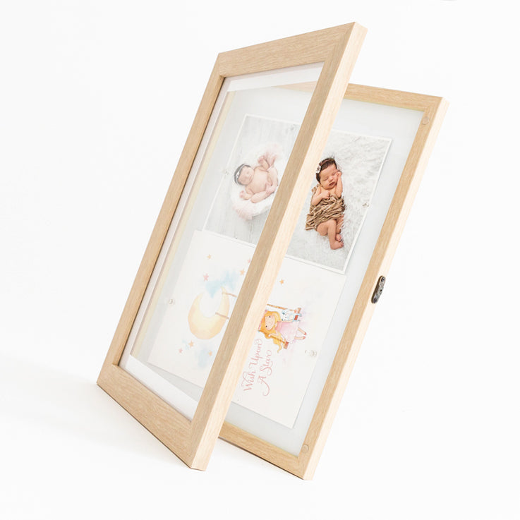 Oak front opening picture frame