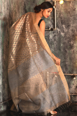 Silver Grey Matka Silk Saree With Geometric Zari Work
