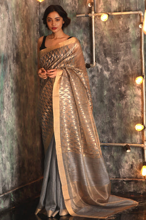 Silver Grey Matka Silk Saree With Zari Work