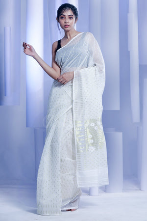 White Jamdani Saree With Zari