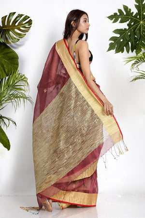 PALE BROWN LINEN SAREE WITH GEECHA PALLU