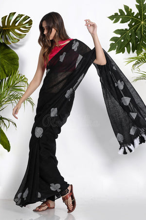 BLACK LINEN SAREE WITH WOVEN MOTIFS