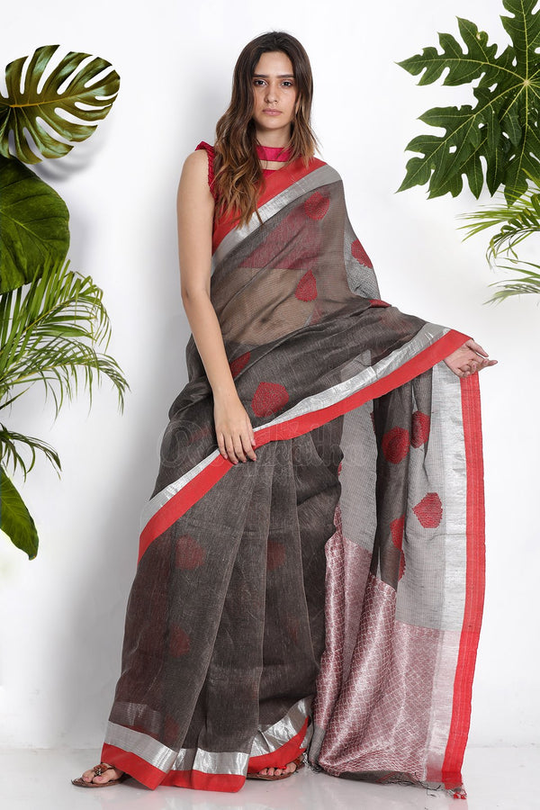 GREY BLENDED LINEN SAREE WITH ZARI