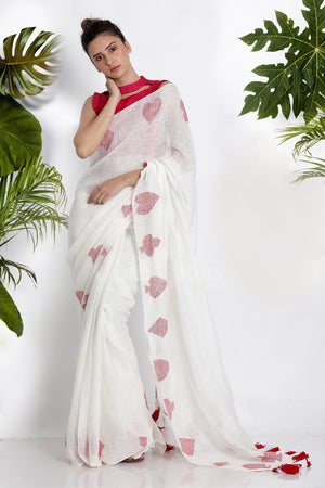 WHITE LINEN COTTON SAREE WITH WOVEN MOTIFS