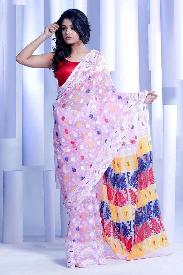 Pale Pink jamdani Saree With Thread Work