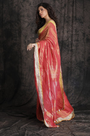 Red Organic Linen Saree With Interwoven Zari
