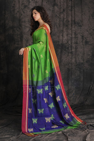 Parrot Green Blended Cotton Saree With Beautiful Woven Design