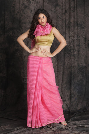 Strawbrerry Pink Blended Cotton Saree With Texture