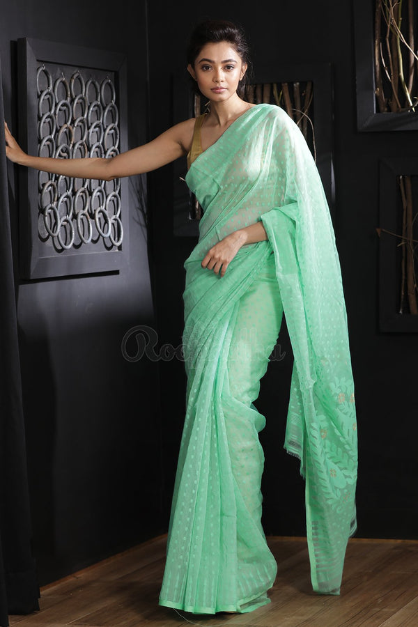 Sea Green Jamdani Saree With Thread Work