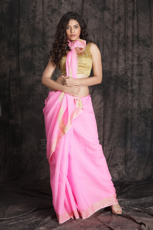 Strawbrerry Pink Blended Cotton Saree With Zari Border