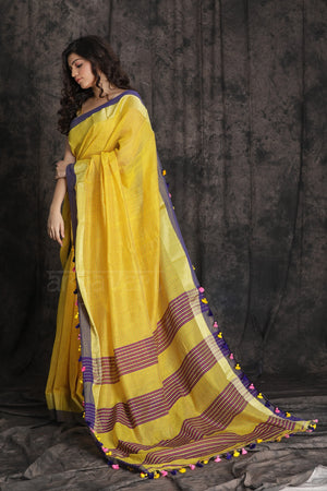 Yellow Blended Cotton Saree With Multicolored Pom Poms