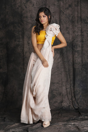 Light Pink Linen Saree With Zari Border