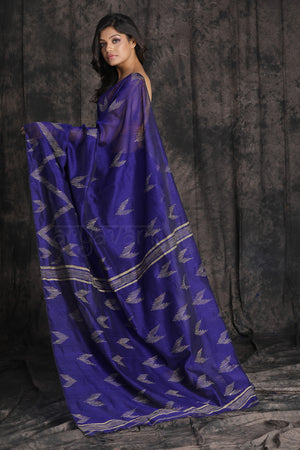 Royal Blue Blended Cotton Saree With Woven Design