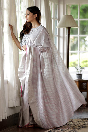 White Matka Silk Saree With Check Design