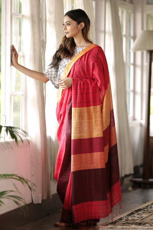 Red Pure Cotton Saree With Check