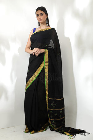 Black Linen Zari Saree With Golden Zari Border