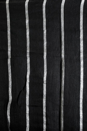 Black Linen Zari Saree With Striped Design
