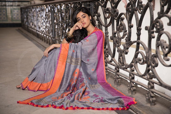 Silver Grey Cotton Saree With Dual Tone Border