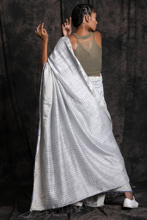 White Matka Silk Saree With Checkered Design
