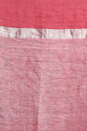 Pale Pink Linen Saree With Zari Border