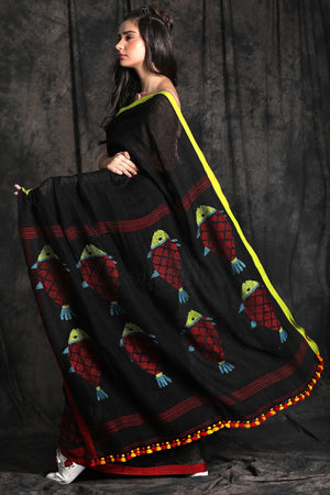 Black Linen Cotton Saree With Fish Motif