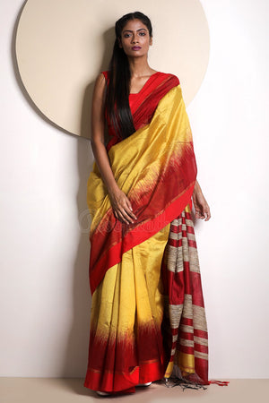 Yellow Blended Cotton Saree With Red Border