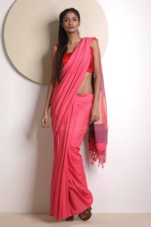 Punch Pink Cotton Saree With Texture
