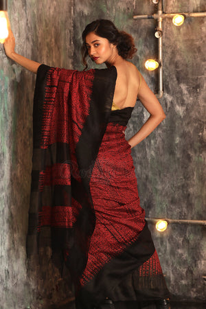 Barn Red Matka Silk Saree With Shibori Print