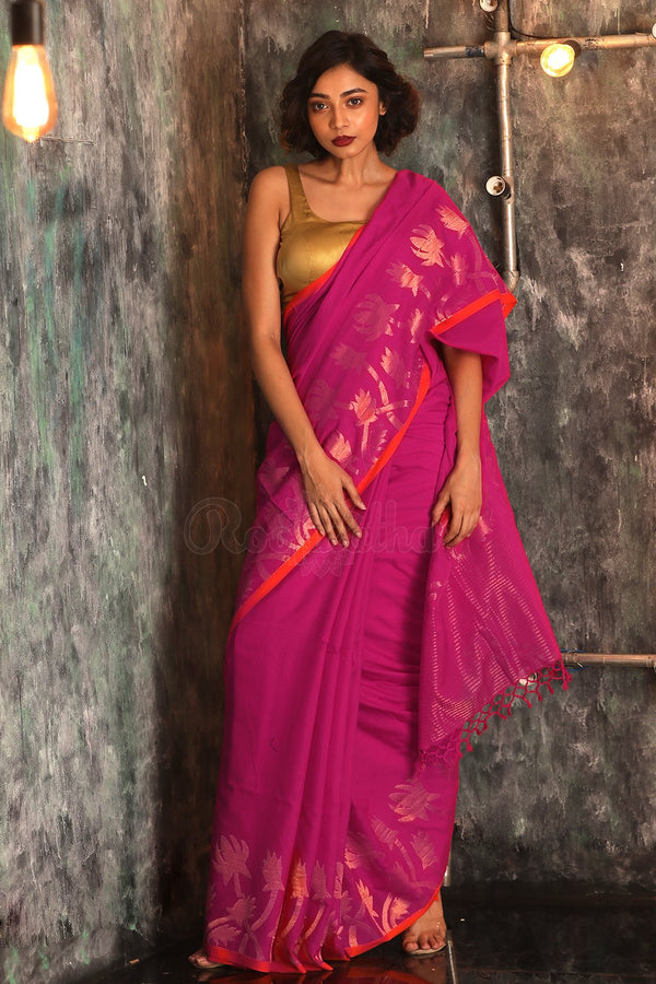 Fuchsia Pure Cotton Saree With Zari Weaving