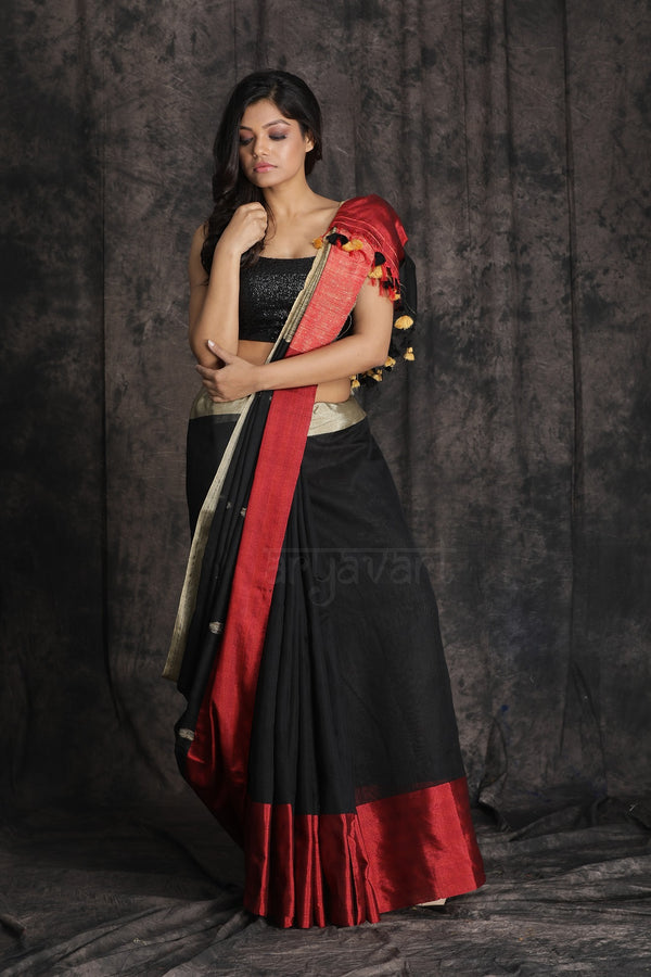 Black Blended Cotton Saree With Double Colour Boarder and Woven Design