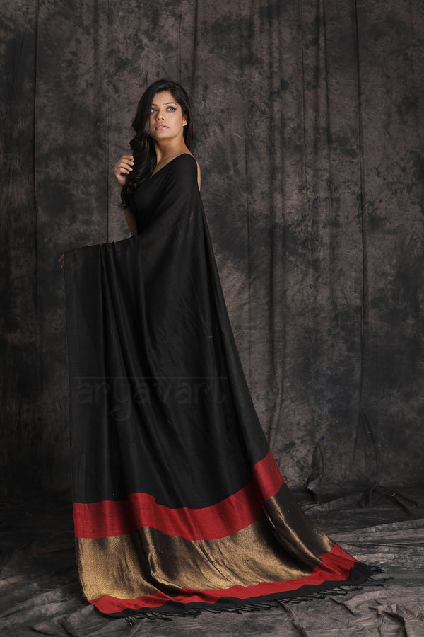 Black Cotton Saree With a Stunning Red and Gold Pallu