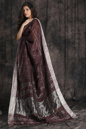 Brown Organic Linen Saree With Zari Checks and Border