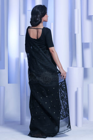 Black Jamdani Saree With Zari