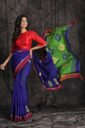 Royal Blue Blended Cotton Saree With Woven Design And Red Border