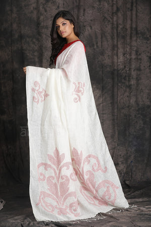 White  Organic Linen Saree With Woven Jamdani Designs in Red
