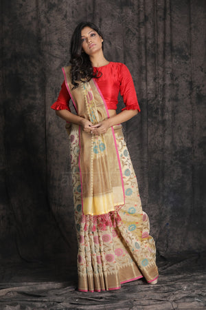 Butter Colour Banarasi Cotton Saree With Zari