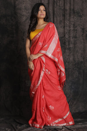 Tomato Colour Organic Linen Saree With Beautiful Zari Jamdani Woven Design