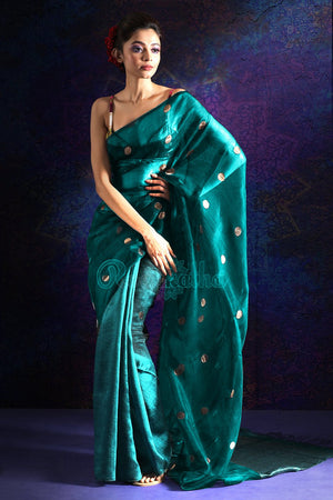 TEAL HALF & HALF MATKA SILK SAREE WITH ZARI BUTTA
