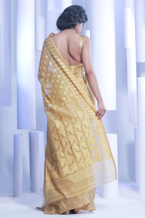 Butterscotch Jamdani Saree With Thread Work