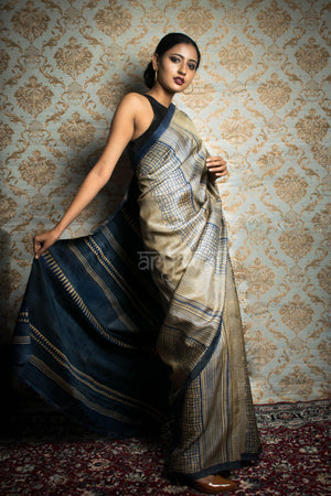 Beige Tussar Saree with Ink Blue Block Print