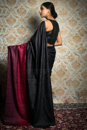 Black Tussar Silk With Tie & Dye Border and Pallu In Shades of Rose