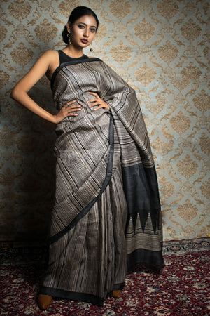 Black Tussar Silk With Stripes Block Print Design