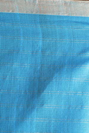 Blue Pure Cotton Saree With Zari