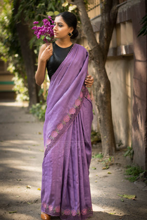Lilac Tussar Silk Saree With Floral Cut Work Design
