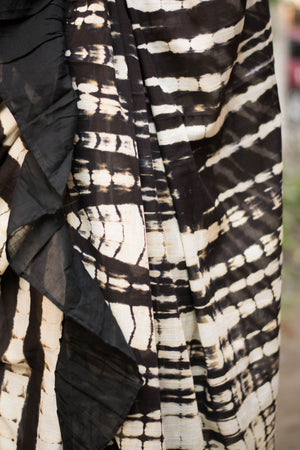 Black & White Ruffle Saree With Shibori Design