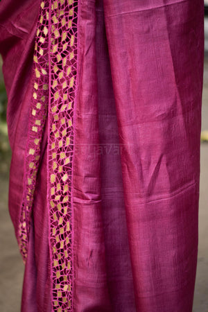 Purple Tussar Silk Saree With Cut Work Design