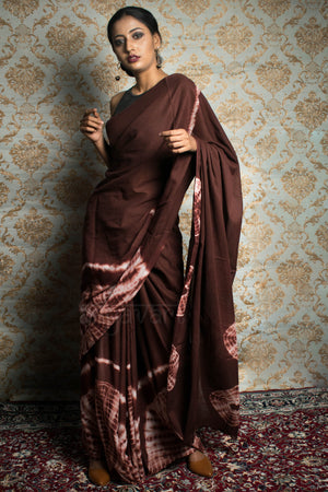 Chocolate Brown Tie & Dye Cotton saree